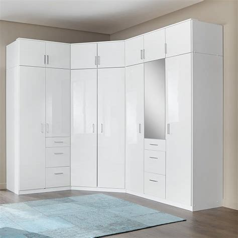kleiderschrank ecke alton corner wardrobe in high gloss alpine white with