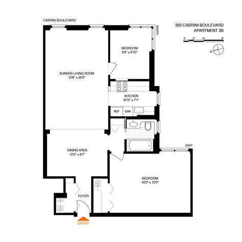 1 of 9 floor plan 3d 545 west 110th streeteasy 350 cabrini boulevard in hudson heights 3b