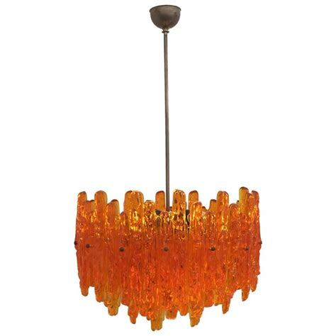 Orange Chandeliers Orange Acrylic Icicle Chandelier In The Manner Of Kalmar For Sale At 1stdibs