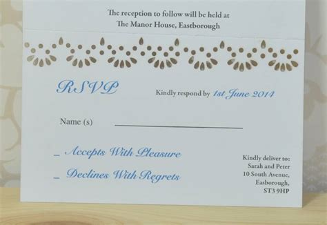 Wedding Invitation Rsvp lace laser cut wedding invitation rsvp by sweet pea design