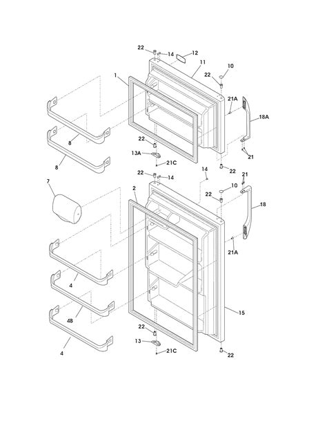 frigidaire refrigerator parts diagram frigidaire refrigerator door parts model fftr1814lw2