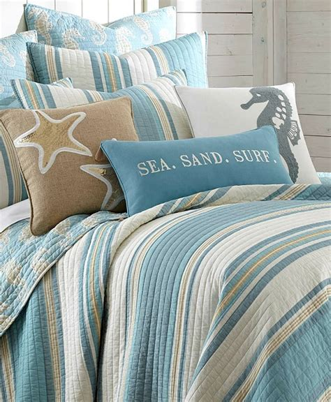 blue striped bedding blue beach striped bedding quilt set with seahorse motif beach bliss designs