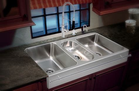triple stainless steel sinks restaurant sink ideas farmers sink contemporary kitchenette design with light