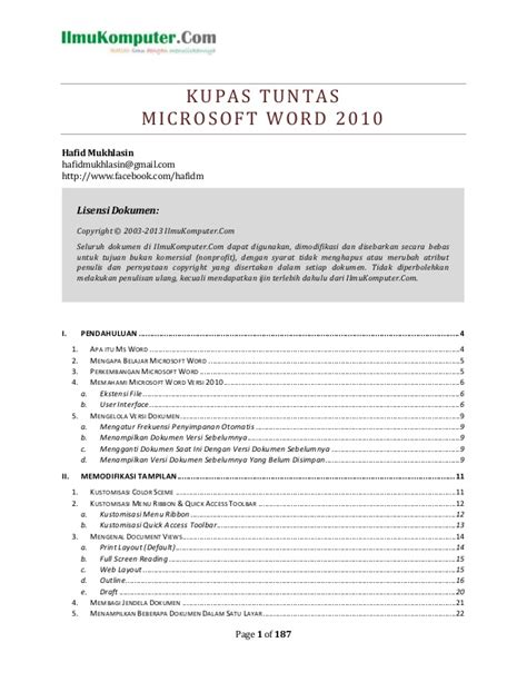 Buku Pintar Microsoft Word panduan belajar microsoft word 2010 pdf free software