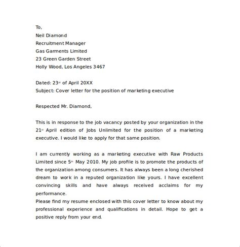 Marketing Executive Cover Letter sle marketing cover letter exle 11 free