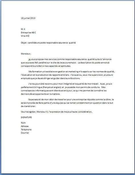 Lettre De Motivation Candidature Sur Recommandation Lettre De Motivation Responsable Assurance Qualit 233 Lettre De Motivation