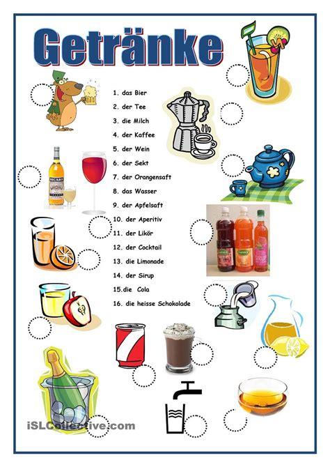 getraenke deutsch lernen deutsch und alphabet schreiben