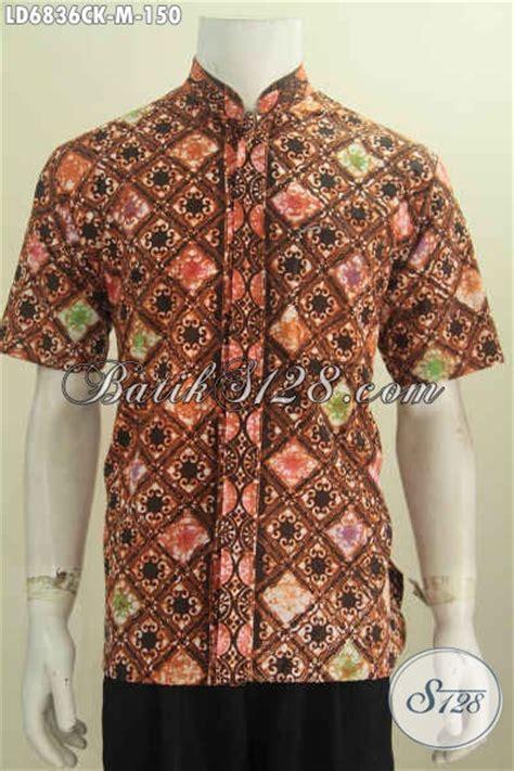 Nj 063 Atasan Hem Batik Pria model baju koko motif batik modis lengan pendek foto