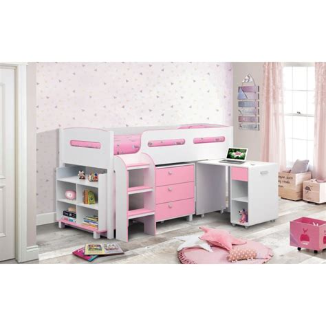 pink and white desk julian bowen kimbo pink cabin bed with pull out desk