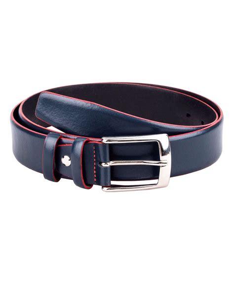 buy blue leather belt with edges leatherbeltsonline