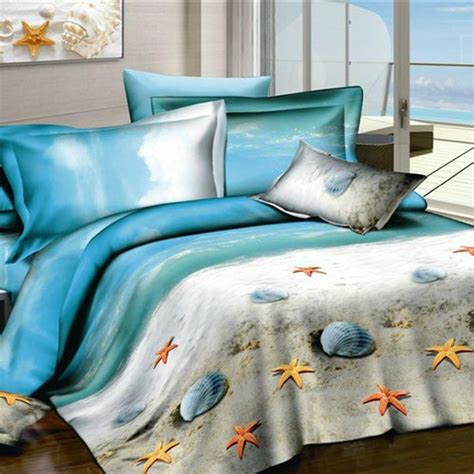 beach themed bedding breezy atmosphere in bedroom with 3 coastal bedding