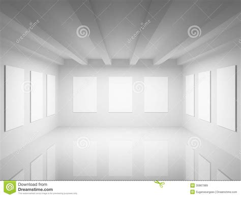 yellow background wall rendering for painting exhibition hall empty white art gallery hall interior stock illustration