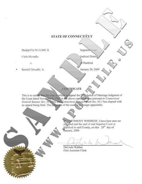 State Of Ct Marriage Records Authentications Of Documents State Connecticut