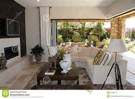 Living Room With Garden Door Family Room With Outdoor Livingroom Stock Image Image