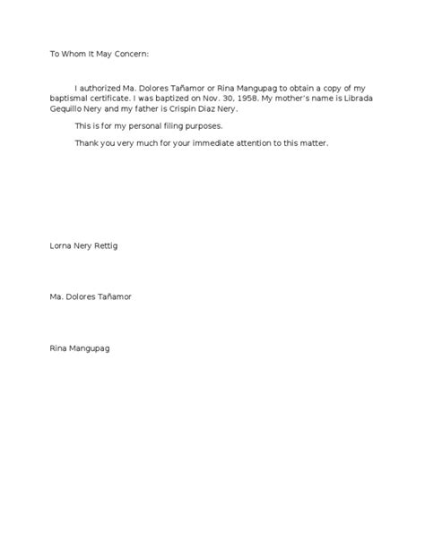 authorization letter for diploma and transcript of records authorization letter