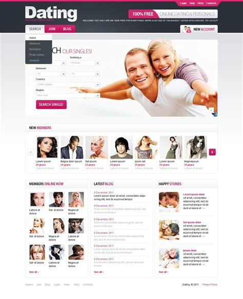 Free Dating Templates dating website template 34766