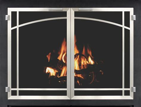 Brushed Nickel Fireplace Doors by Stoll Fireplace Inc Glass And Mesh Doors And Hanging Mesh