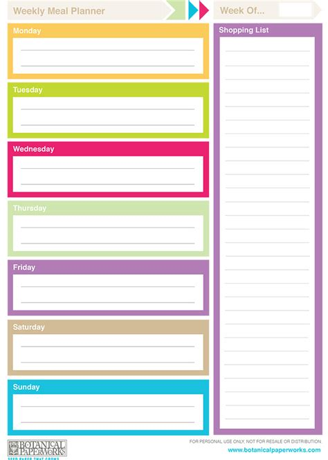 colorful printable weekly planner free printable 2014 weekly planners blog botanical