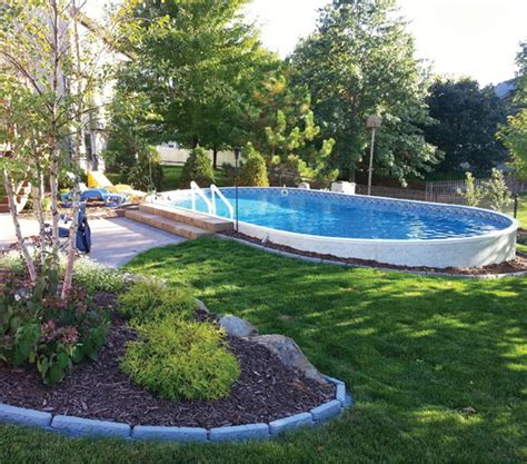 backyard leisure pools metric semi inground swimming pool backyard leisure