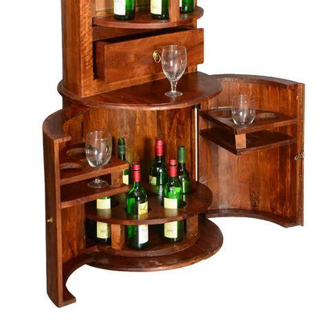 wine barrel mango wood liquor cabinet display shelves