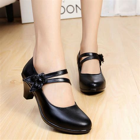 Ankle Genuine Leather Pumps new 2015 genuine leather pumps thick heel ankle