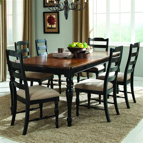 Homelegance Mckean 7 Piece Dining Room Set In Black Black And Brown Dining Room Sets