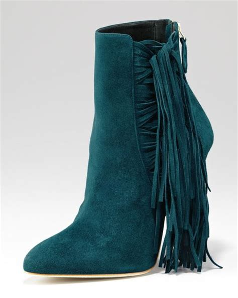 brian atwood pipi suede fringe ankle boot in blue