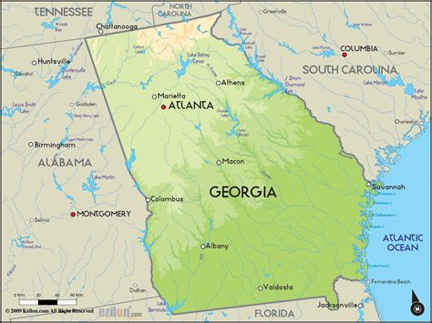 atlanta in map of usa geographical map of and geographical maps