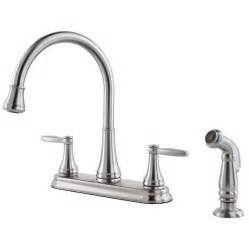 Kitchen Faucet Pfister Shop Pfister Glenfield Stainless Steel 2 Handle High Arc Deck Mount Kitchen Faucet At Lowes