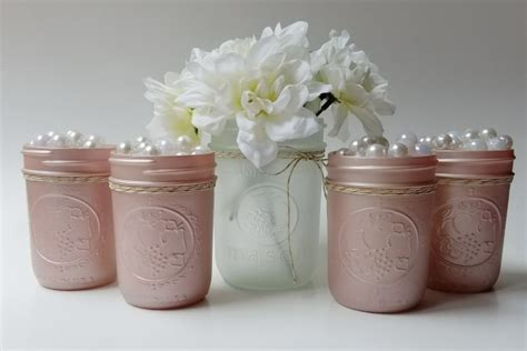Chagne Pink Frosted Mason Jars Set Of 5 Baby Girl Frosted Vases Centerpieces