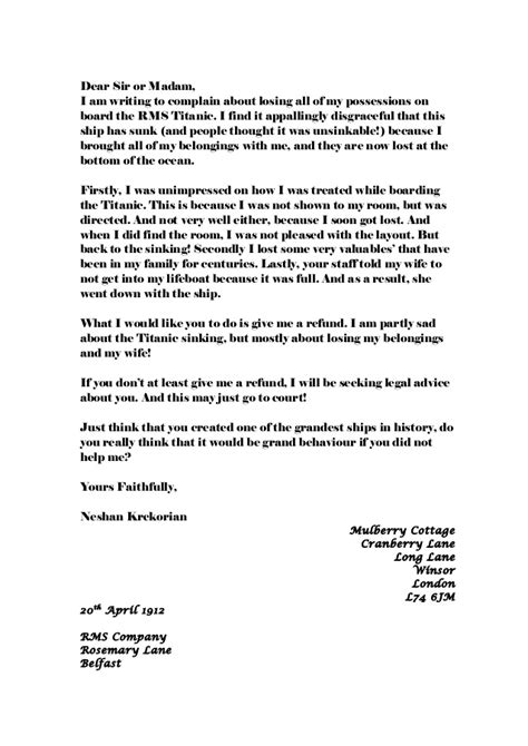 Complaint Letter Rude Behaviour Whole Class Of Letters Complaint Nov2014