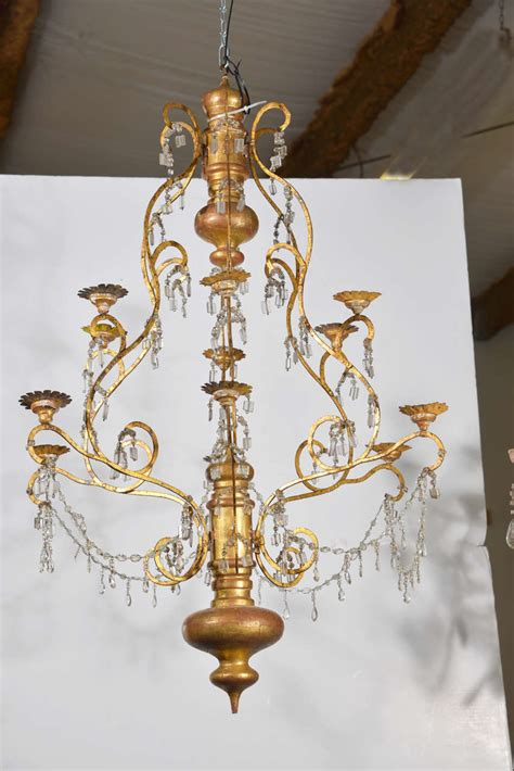 Wood Glass Chandelier 19th Century Italian Wood Iron And Chandelier