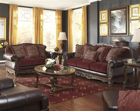 room store living room furniture weslynn place burgundy polyurethane living room set