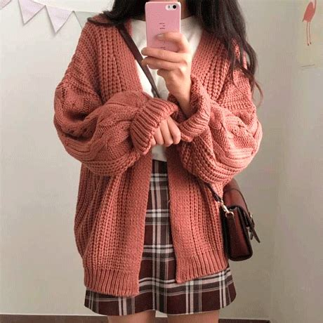 knit aesthetic itgirl shop thick knit volume aesthetic buttons cardigan