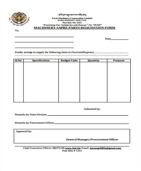 parts requisition form template 43 free requisition forms