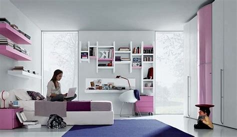 modern teenagers room pink purlpe  white furniture ideas