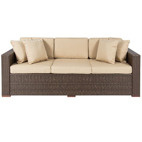Outdoor Wicker Sectional Sofa Outdoor Wicker Patio Furniture Sofa 3 Seater Luxury Comfort Brown Wicker Ebay