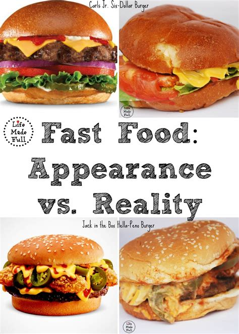 vs food fast food appearance vs reality made