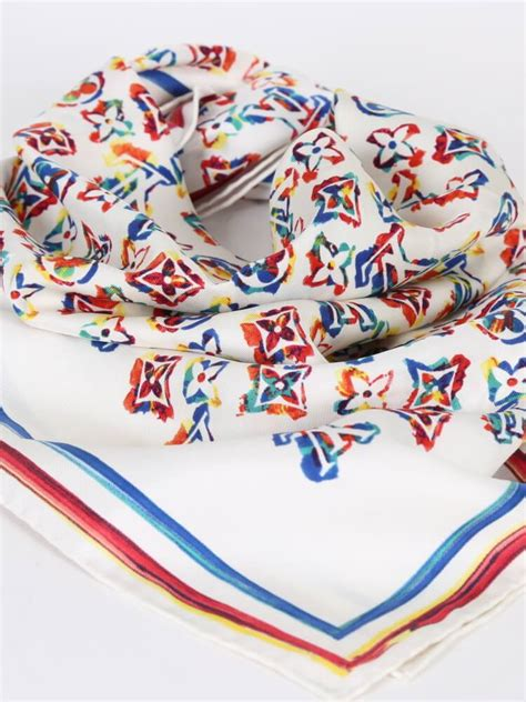 louis vuitton rainbow colorful monogram silk scarf