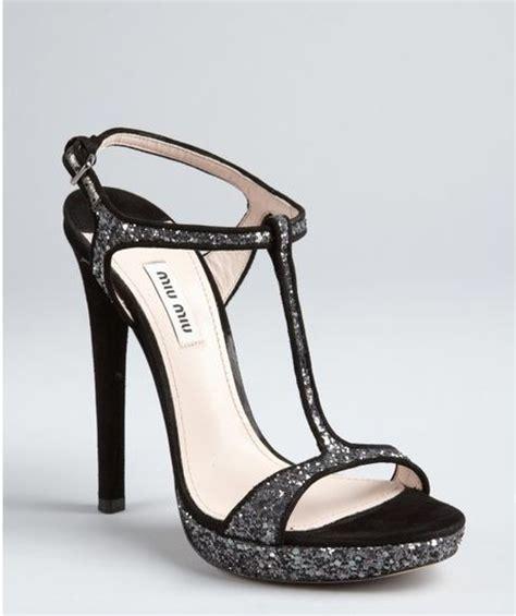 Sandal Wanita Wedges Jnr Black Silver miu miu black and silver glitter suede strappy heel sandals in black lyst