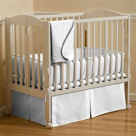 Mini Crib Skirt Solid White Portable Crib Skirt Box Pleat 500x500 Image New Baby Pinterest