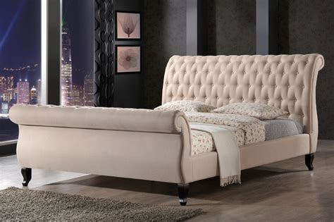 Fabric Sleigh Bed Nottingham Tufted Sleigh Upholstered Platform Bed In Sand Fabric Contemporary Platform Beds