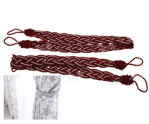 red rope curtain tie backs 2 x braided satin rope curtain tie backs holdbacks holder