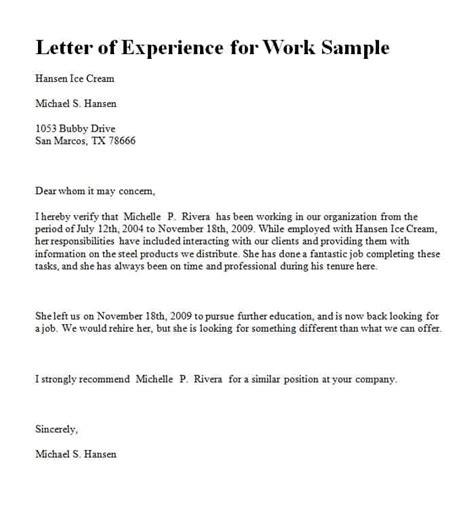 experience letter template word excel formats