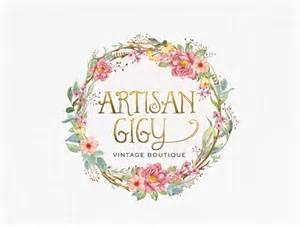 shabby chic floral logo design vintage logo boutique logo