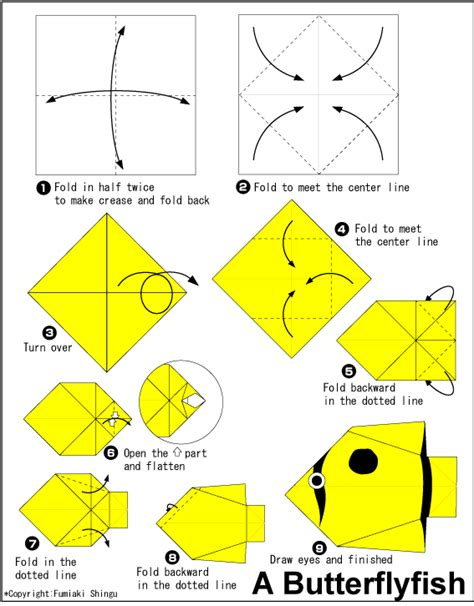 Paper Folding Fish - butterfly fish easy origami for