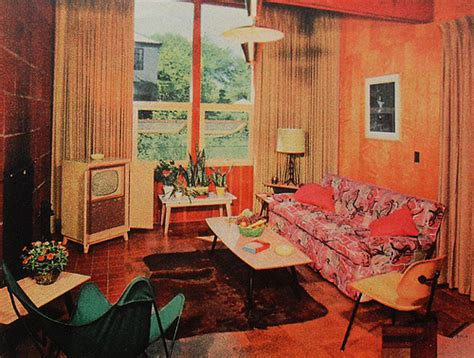 1950s living room 1950s tv room patterned couch vintage interior design phot