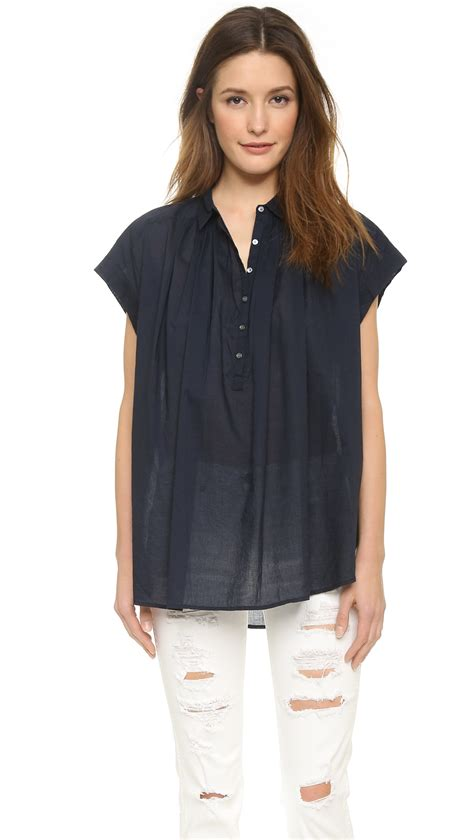 Sleeve Navy Blue Blouse by Navy Blue Sleeve Blouse Lace Henley Blouse
