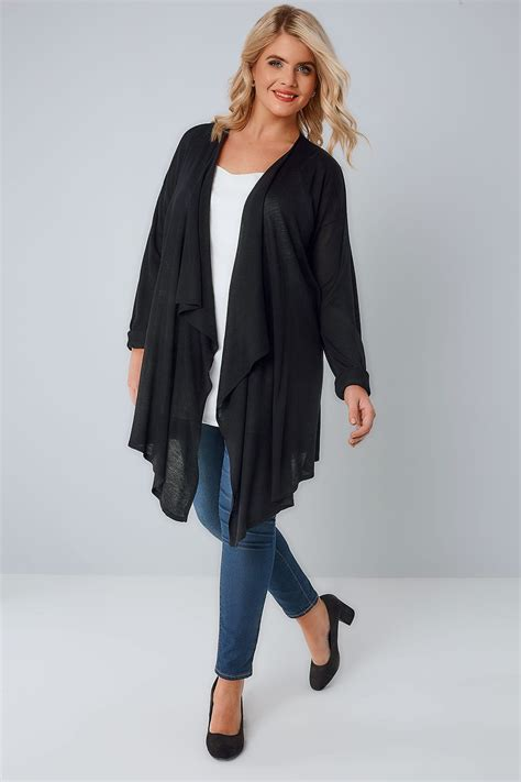 Add Target Gift Card To Account - black super fine knit edge to edge waterfall cardigan plus size 16 to 36