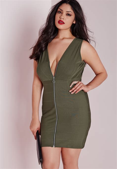 chagne color plus size dresses lyst missguided plus size zip front bandage dress khaki